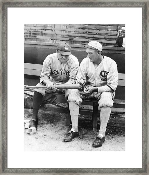 Shoeless Joe Jackson And Babe Ruth Framed Print
