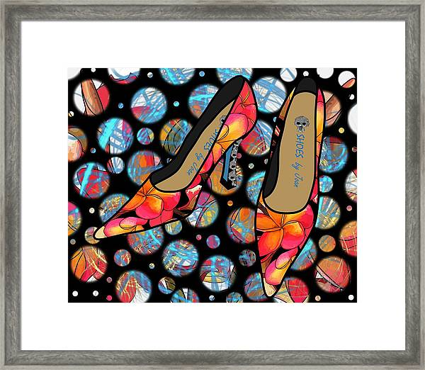 Shoes By Joan - Frangipani Pattern Pumps Framed Print