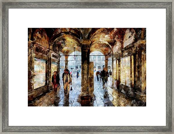 Shopping Area Of Saint Mark Square In Venice, Italy - Watercolor Effect Framed Print