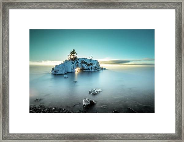 Shoreline Light Show / Lake Superior, Minnesota  Framed Print