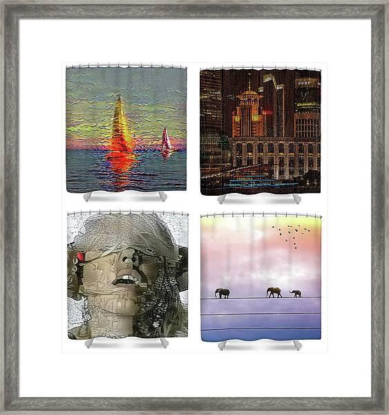 Shower Curtains Samples Framed Print