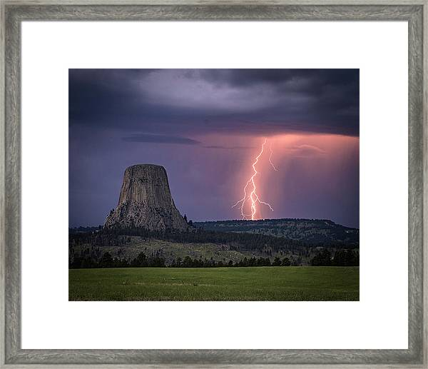 Showers And Lightning Framed Print