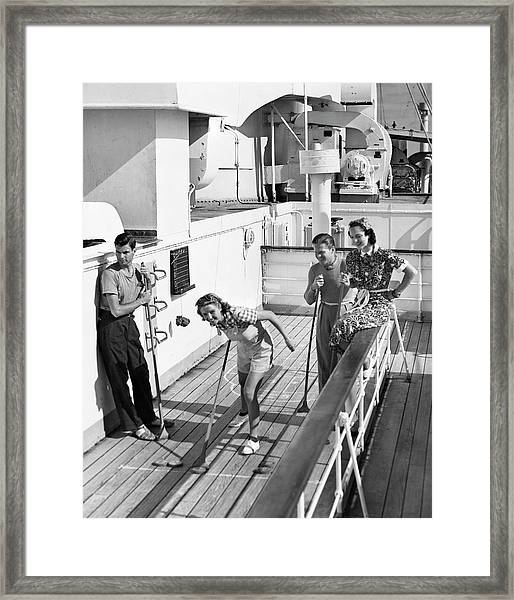Shuffleboard Players Framed Print by George Marks