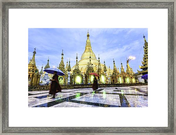Shwedagon Pagoda In Yangon, Myanmar At Framed Print