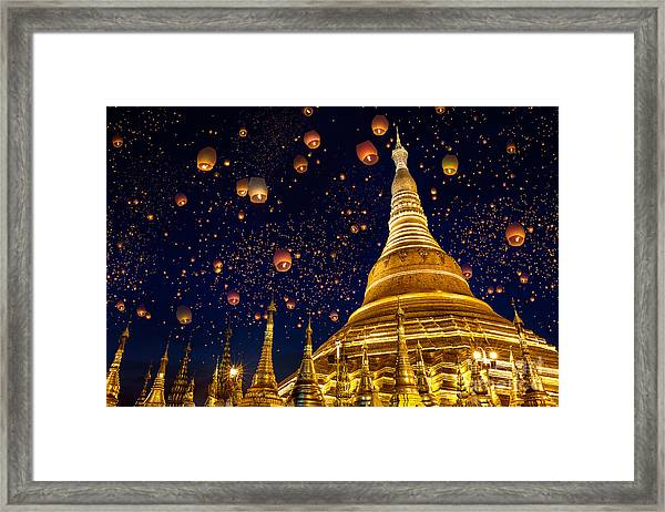 Shwedagon Pagoda With Larntern In The Framed Print