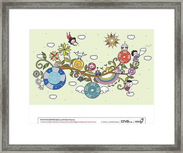 Side View Of Children Playing On Tree Framed Print
