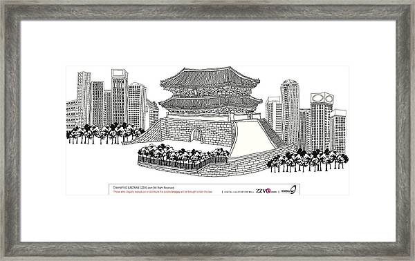 Side View Of Pagoda And Trees Framed Print