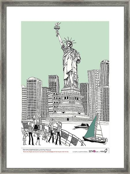 Side View Of Tourists Photographing Framed Print