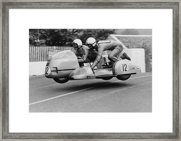 Sidecar Tt Race, Isle Of Man, 1970 Framed Print