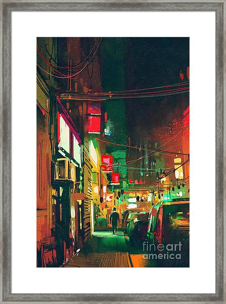Sidewalk In The City At Night With Framed Print