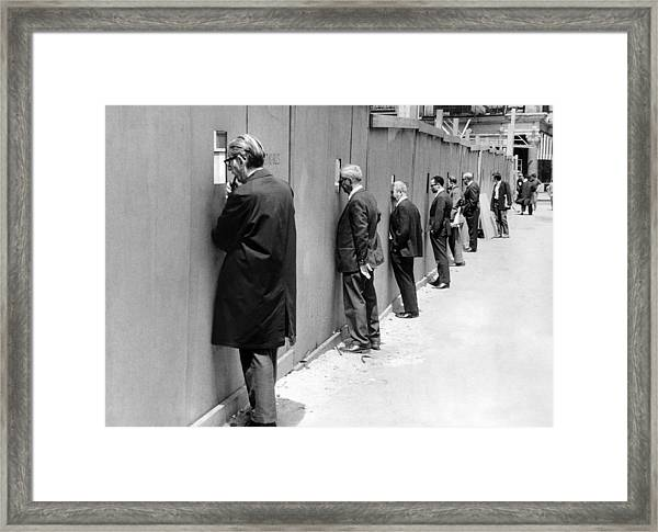 Sidewalk Superintendents Watching Framed Print