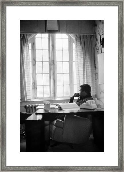 Sidney Poitier Looks Through A Window Framed Print
