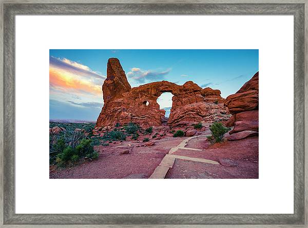 Sighting In The Turret At Sunrise Framed Print