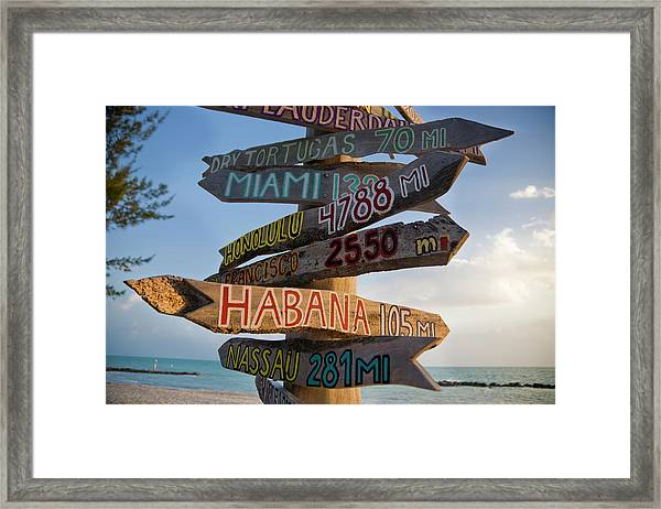 Sign In Key West Framed Print