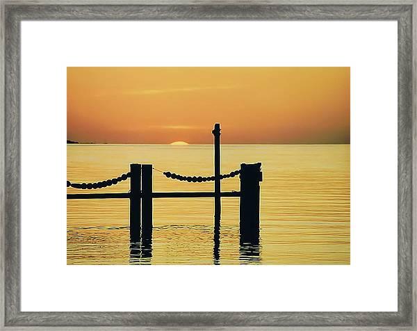 Silhouette Dock, Florida Framed Print