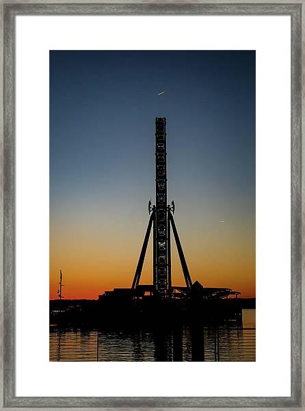 Silhouette Of A Ferris Wheel Framed Print