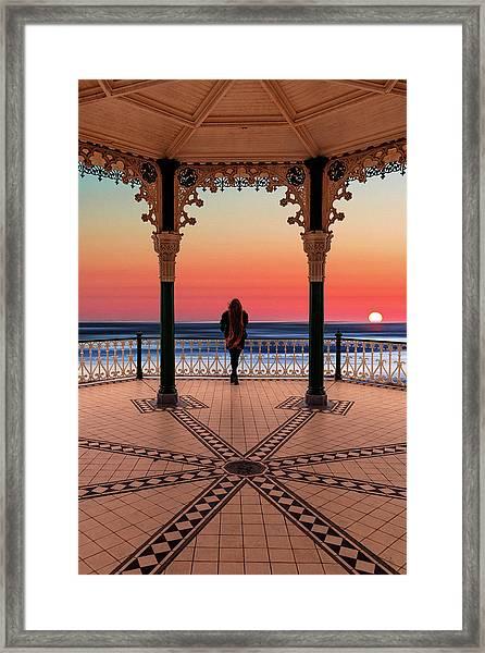 Silhouette Of Girl  On Brighton Bandstand Framed Print