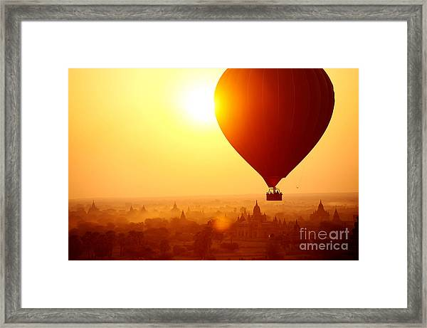 Silhouette Of Hot Air Balloon Over Framed Print