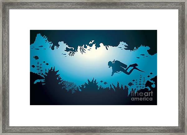 Silhouette Of Scuba Diver And Coral Framed Print