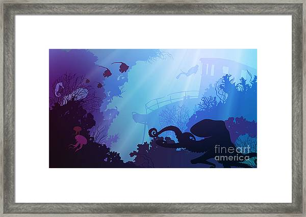Silhouette Of Underwater Marine Life Framed Print by Eva mask