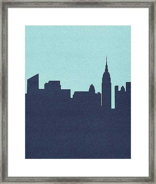 Silhouetted Skyline Of Empire State Framed Print