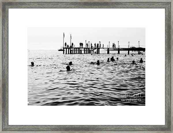 Silhouettes Of Having A Rest People. It Framed Print