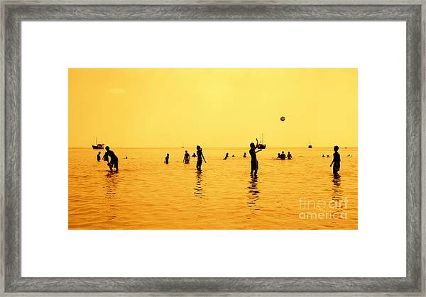 Silhouettes Of People Playing Games In Framed Print