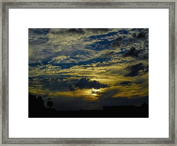 Silver, Blue And Gold Framed Print