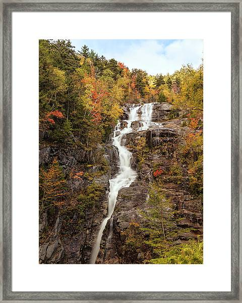 Silver Cascade Waterfall, White Framed Print