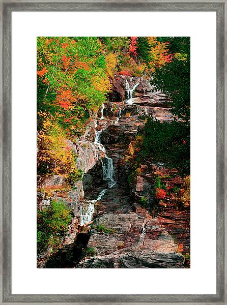 Silver Cascades In The White Mountains Framed Print