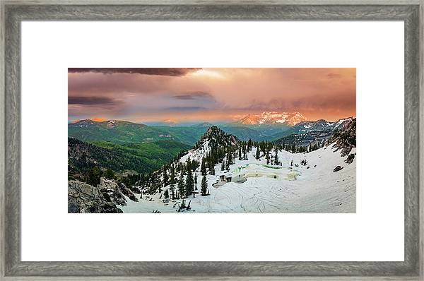Silver Glance Sunset Panorama Framed Print