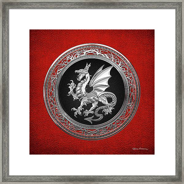 Silver Winged Norse Dragon - Icelandic Viking Landvaettir On Black And Silver Medallion Over Red  Framed Print