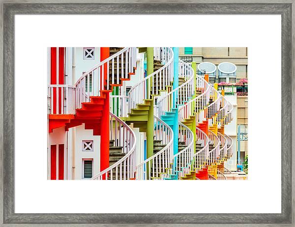 Singapore At Bugis Village Spiral Framed Print by Sean Pavone