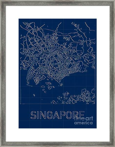 Singapore Blueprint City Map Framed Print