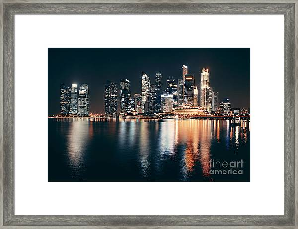 Singapore Skyline At Night With Urban Framed Print by Songquan Deng