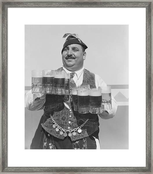 Singing Waiter Balancing Beer Framed Print