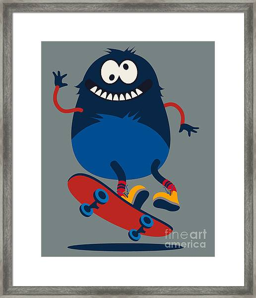 Skater Monster Victor Design For Kids Framed Print