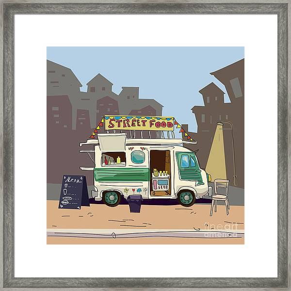 Sketch Car Street Food, City, Cartoon Framed Print