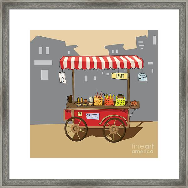 Sketch Of Street Food Carts, Cartoon Framed Print by Valeri Hadeev