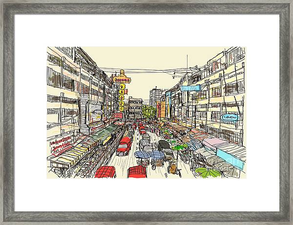 Sketch Thai Local Market Place In Framed Print