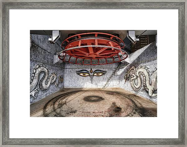 Framed Print featuring the photograph Ski Lift Turnaround by Milan Ljubisavljevic