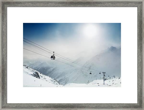 Ski Resort In The Winter Mountains Framed Print by Olga Gavrilova