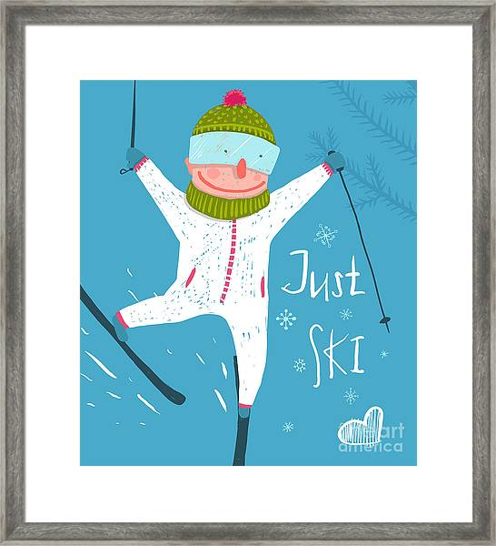 Skier Funny Free Rider Jump Fun Poster Framed Print