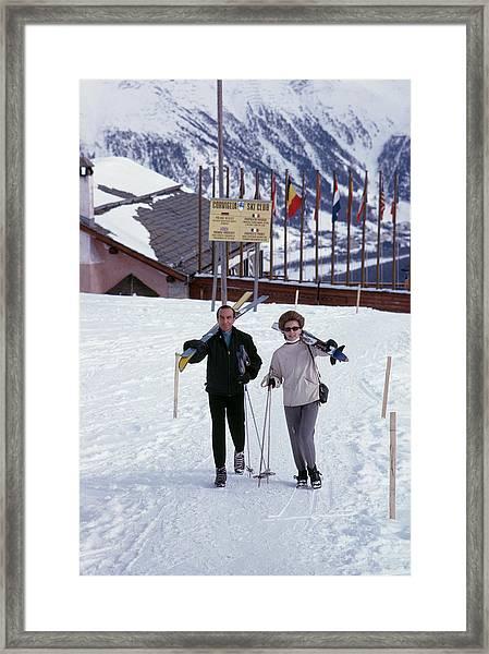 Skiers At St. Moritz Framed Print
