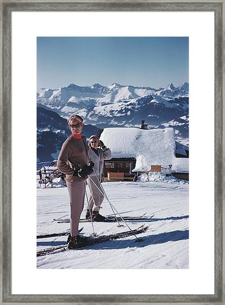 Skiers In Gstaad Framed Print