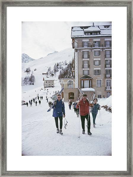 Skiers In St. Moritz Framed Print