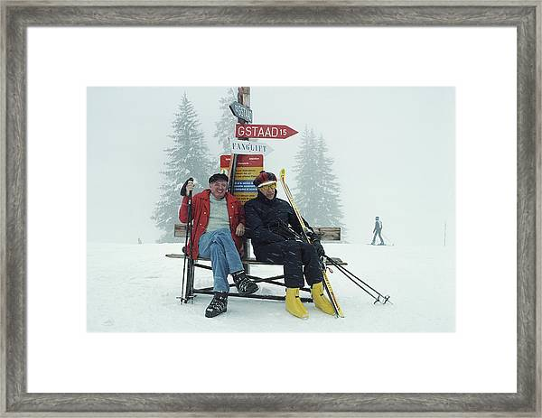 Skiing Holiday Framed Print