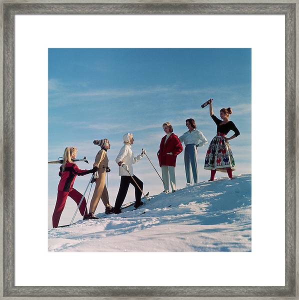 Skiing Party Framed Print by Chaloner Woods