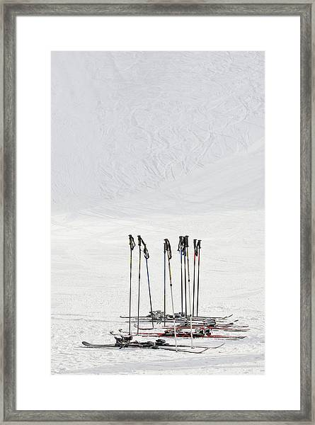 Skis And Ski Poles In Soelden, Tyrol Framed Print