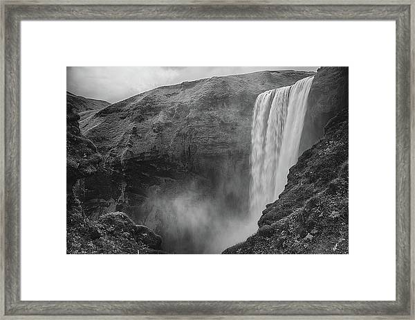 Skogafoss Iceland Black And White Framed Print